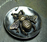 Bumble Bee Pendant Sterling Silver and Brass - The Garden Bee