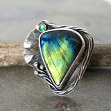 Sterling Silver Labradorite Ring - Light from the Depths