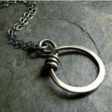 Sterling Silver Circle Pendant - Little Wrapped Oh