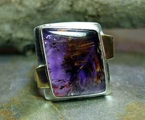 Amethyst with Cacoxenite - custom man's ring