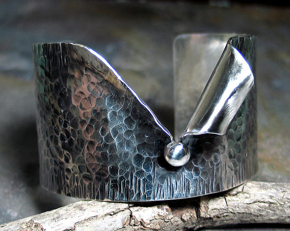 Sterling silver wide cuff - Pebble Road