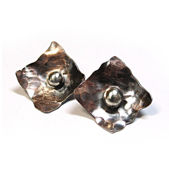 Rustic copper stud earrings - Modern Relic Posts or Dangles