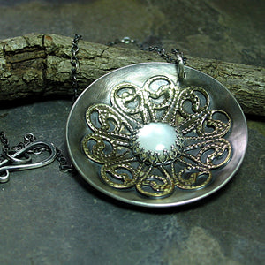 Dancing with the Moon - Sterling Silver Moon Mandala Pendant with mother of pearl