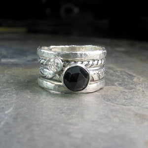 Sterling Silver Stacking Rings Set of Four - Night Magic