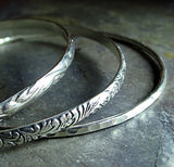 Pattern Wire Bangles in Sterling Silver set of 3 - Noveau Romance