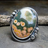 Ocean Jasper Ring Handmade Sterling Silver - Waterlights