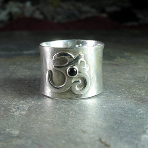 Ohm Ring, wide band sterling silver - Peaceful Mind