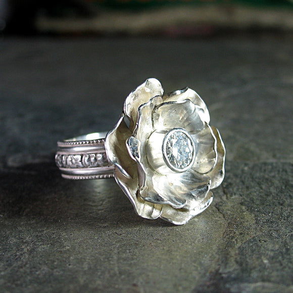 Rose Ring in Sterling Silver with Moissanite - Winter Rose