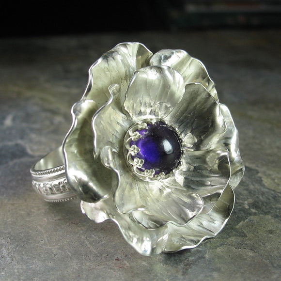 Sterling Silver Handmade Rose Ring with Amethyst - Old World Rose Large Garden Ring