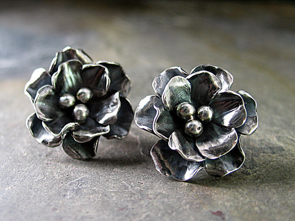 Rose Stud Earrings - Old World Rose