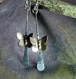 Sterling Silver Butterfly Earrings - On Golden Wings