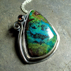 Parrot Wing Chrysocolla Pendant - Spirit of the Amazon - SOLD