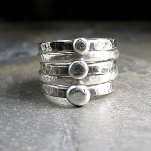 Stacking Pebble Rings, Cairn Rings in Sterling Silver