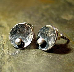 Sterling Silver Stud Earrings - Pebble Road Rustic Petites