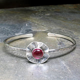 Sterling Silver Flower Cuff with lab-created Ruby - Poppy Fields Cuff