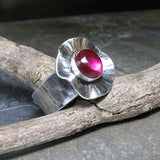Sterling Silver Poppy Ring with lab-created Ruby - Poppy Fields