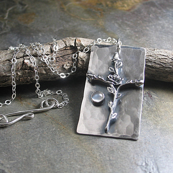 Sterling Silver Cross Pendant - Sacred Rose