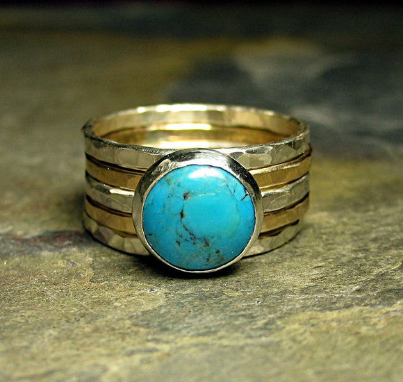 Turquoise stacking rings with sterling and gold-fill - California Skies
