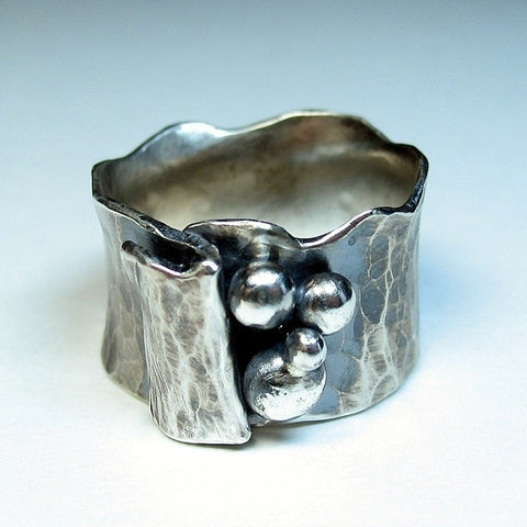Artisan Sterling Silver Ring - Silver Pebbles