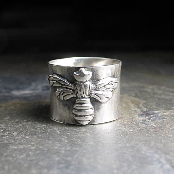 The Silver Queen - sterling silver wide band bee ring