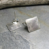 Sterling Silver Stud Earrings - Silver Satin Ready to Ship