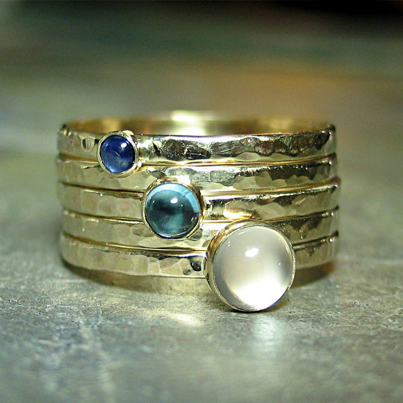 Solid Gold Stacking Ring Set of 5 - Sky Blue Dreaming Gold
