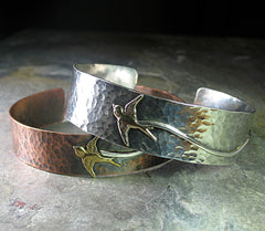 Hammered Copper Bird Cuff - Soaring Free