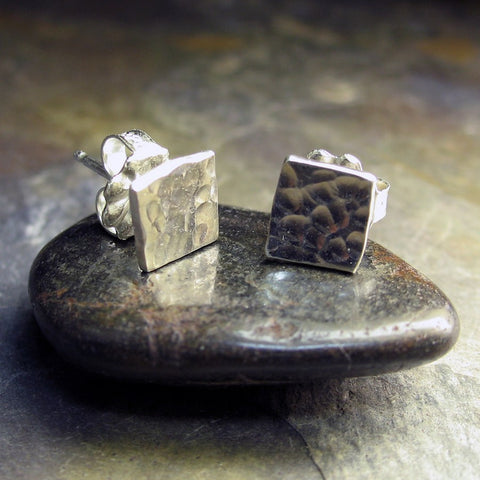 Hammered Sterling Silver Stud earrings - Sparkle on the Square