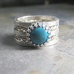 Spirit of the West - Stacking rings with Turquoise or stone of your choice