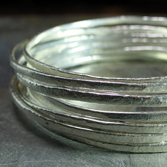 Stacking Bangles in textured fine silver - Summerlight