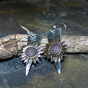 Sunflower Earrings in Sterling Silver and Brass - Always Summer