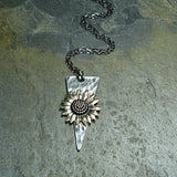 Sunflower Pendant in Sterling Silver and Brass - Always Summer