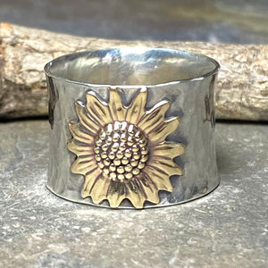 Size 9.5 Sunflower Ring Wide Band Sterling Silver - Always Summer