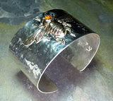 Wide Bee Cuff in Sterling Silver with Citrine - The Golden Bee