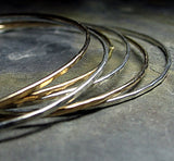 Sterling Silver and Gold-Filled Skinny Stacking Bangles - Three of Each set of 6