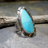 Large Turquoise Ring, Rustic Sterling Silver - Watercolor Sea