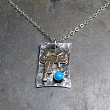 Cowgirl Jewelry Western Saddle Pendant with Turquoise - Ready to Ride