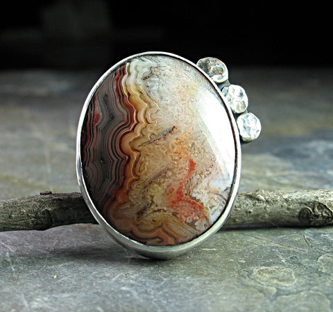 Artisan Ring in Sterling Silver and Crazy Lace Agate - Western Sky - SOLD