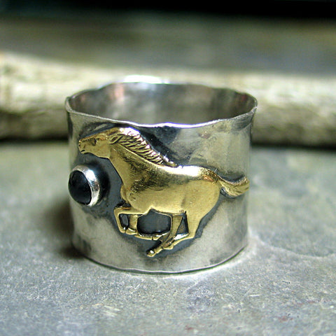 WindRunner - Wide band running horse ring with black onyx, Unisex or Men's ring