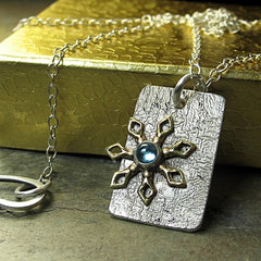 Blue Topaz Pendant on Reticulated Silver - Winter Wonderland - SOLD