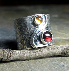 Sterling Silver Wide Band Ring with Citrine and Garnet - Autumn Afternoon