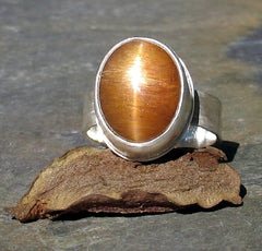 Star Sunstone Ring in sterling silver - Autumn Glow - SOLD