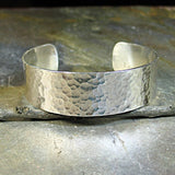 3/4 inch Hammered Sterling Silver Cuff - City Lights