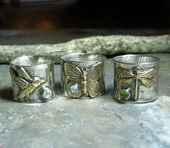 Sterling Silver and Brass Butterfly Ring with Choice of Stone