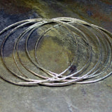 Stacking Bangles Hammered Sterling Silver - City Lights Stack of 6