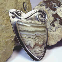 Coffee and Cream Lace Agate Pendant - Sold