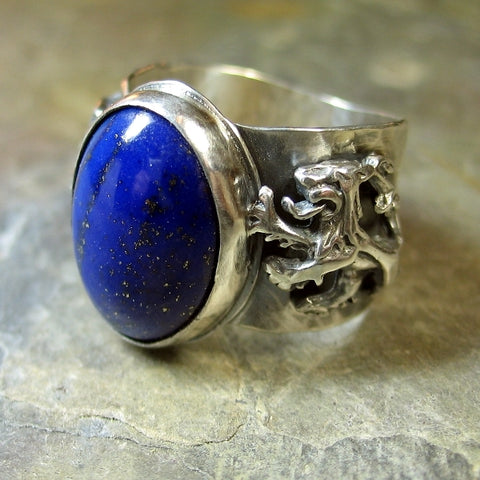 Men's Lapis Ring with Lions - Sold