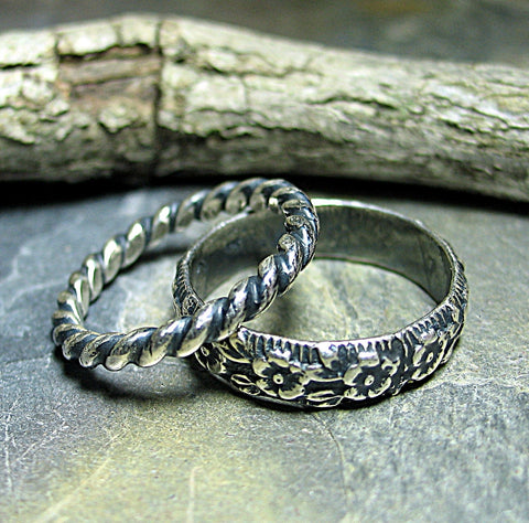 Stacking rings in sterling silver pattern wire - Country Garden