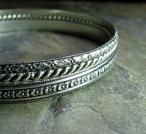 Sterling Silver Pattern Wire Bangles Set of Three - English Garden