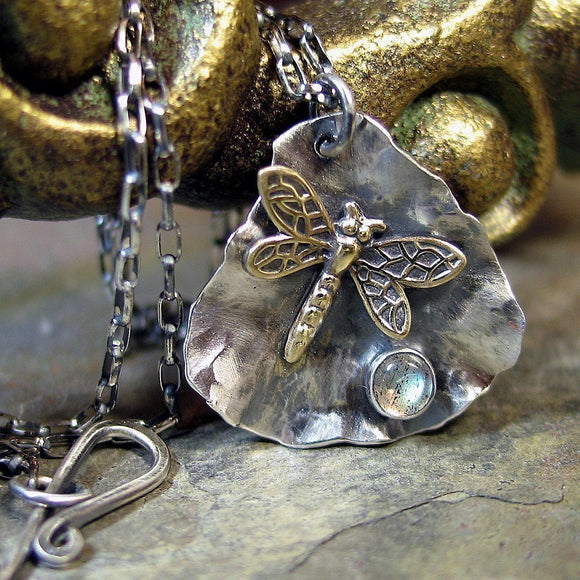 Dragonfly Pendant in Sterling Silver with Choice of Stone - Dew on a Petal